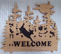 Oak Welcome sign; Pattern from [url=http://www.scrollerltd.com/]Scroller Ltd.[/url]